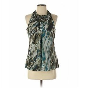 Ann Taylor Sleeveless Silk Blouse with Ruffle Neck